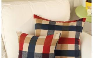 地中海 格子 抱枕 靠垫套 抱枕套 【爱丁堡】 普通款式 MR家居 .